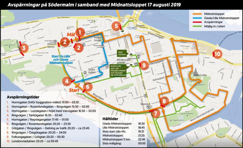 Gatorna som stängs av på grund av midnattsloppet i Stockholm 2019