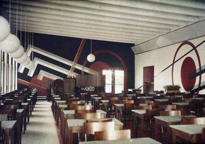"""stockholmsutställningen 1930 Utställningsrestaurangen, """"Lilla Paris"""", ritad av Gunnar Asplund."""
